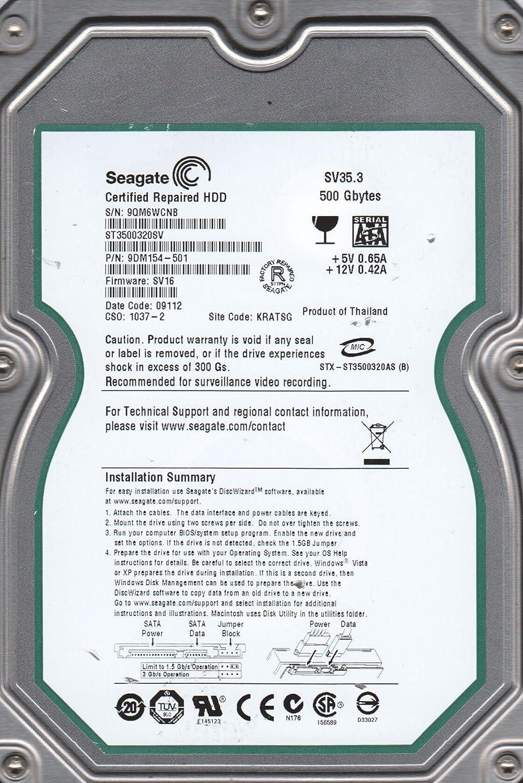 Seagate 500GB SATA 3.5 Hard Drive KRATSG FW SV16 9QM ST3500320SV PN 9DM154-501
