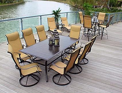 10pc cast aluminum patio furniture set with cover bronze - Cast Aluminum Patio Furniture