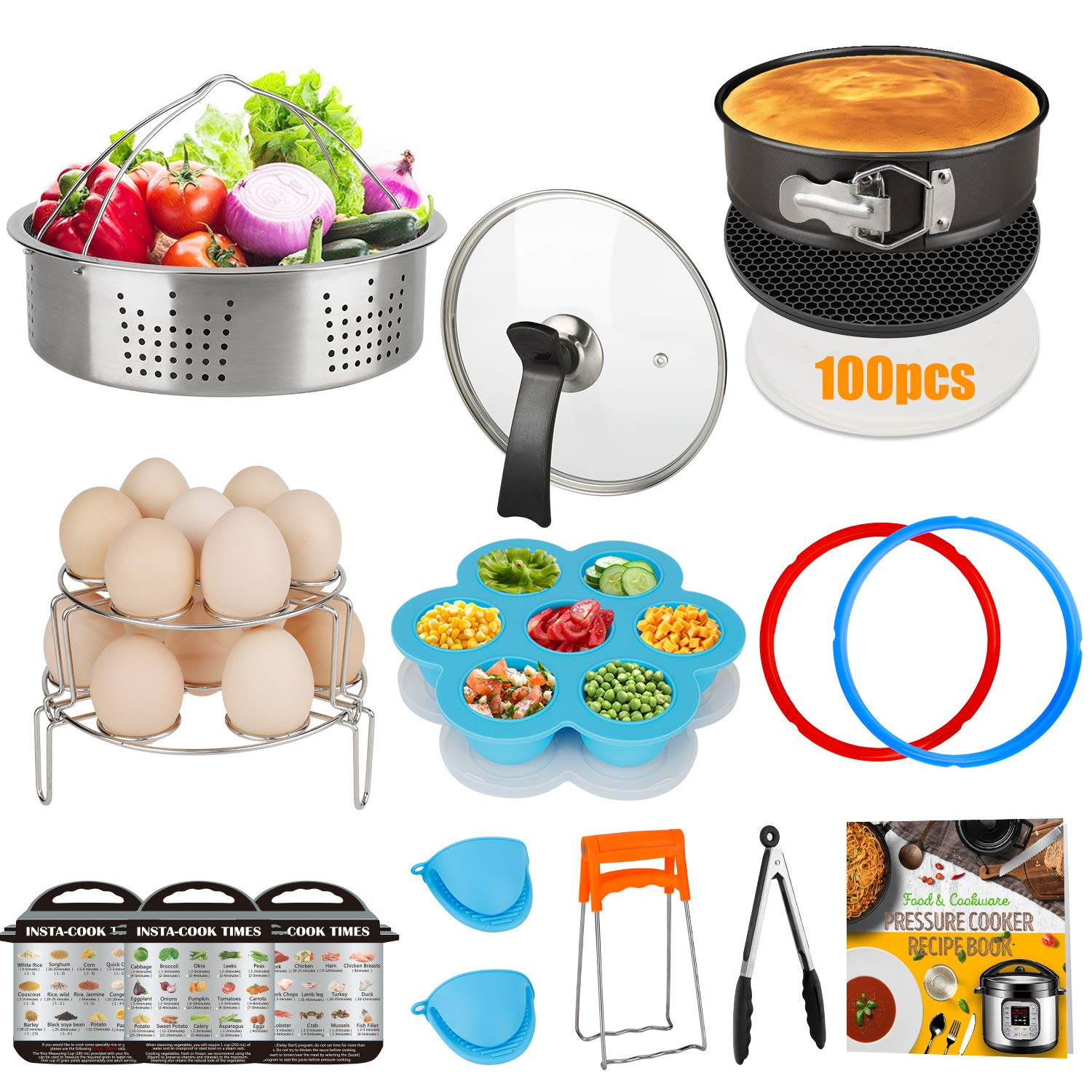 Accessories Set Compatible with 8 Quart Instant Pot Only with Sealing Rings, Tempered Glass Lid, and Steamer Basket. by Acnusik (Image #1)