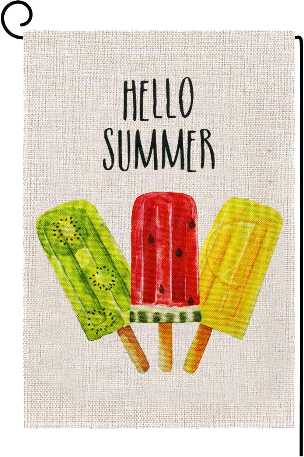 Alpurple Summer Popsicles Garden Flag-12.5 x 18 Inch Double-Sided Printed Summer Ice Cream Yard Burlap Banner for Seasonal Rustic Home & Outdoor Decoration