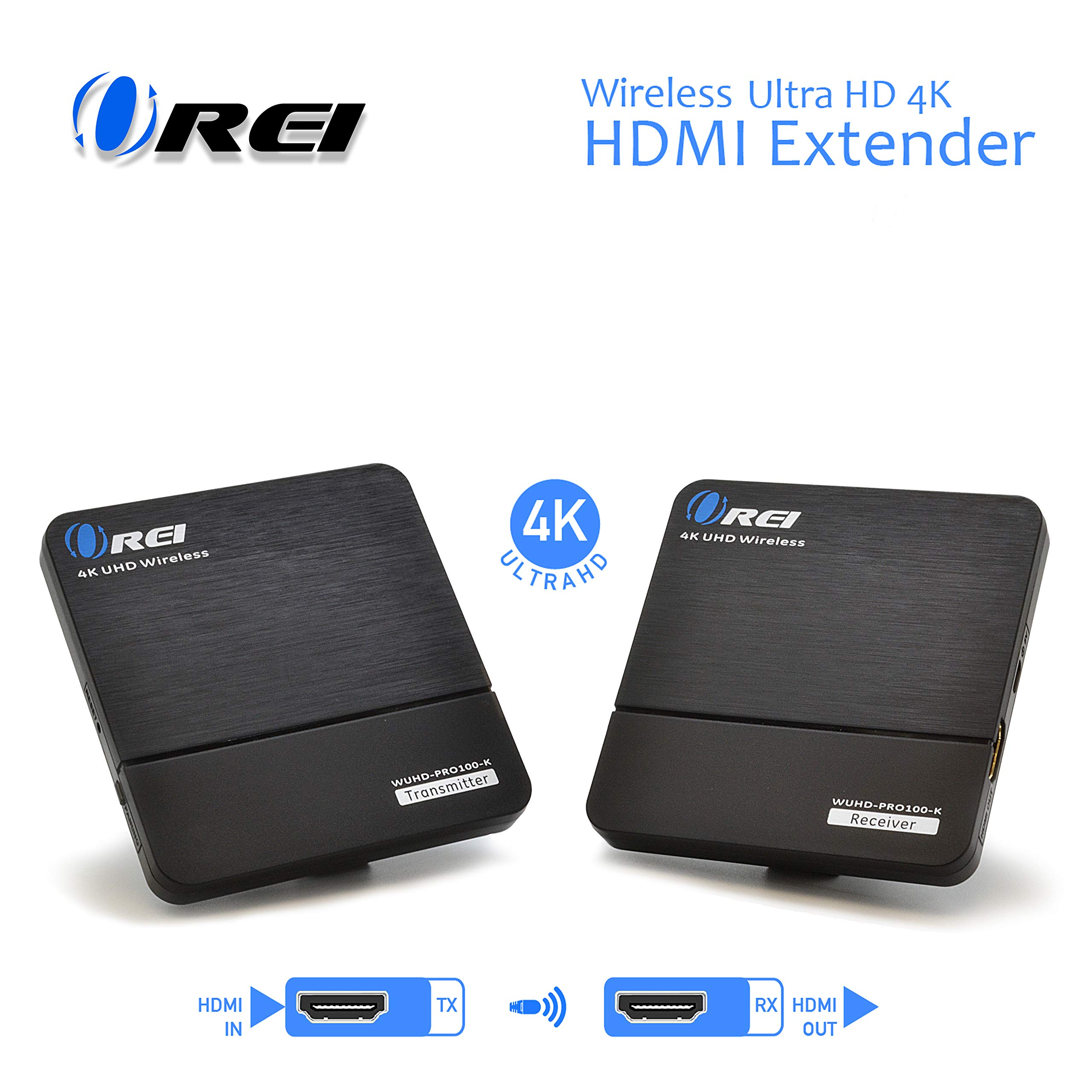 Orei Wireless Pro UltraHD HDMI Extender Transmitter & Receiver Dongle - Up to 4K @ 30Hz - Upto 100 Feet - Perfect for Streaming from Laptop, PC, Cable, Netflix, YouTube, PS4 to HDTV/Projector by Orei