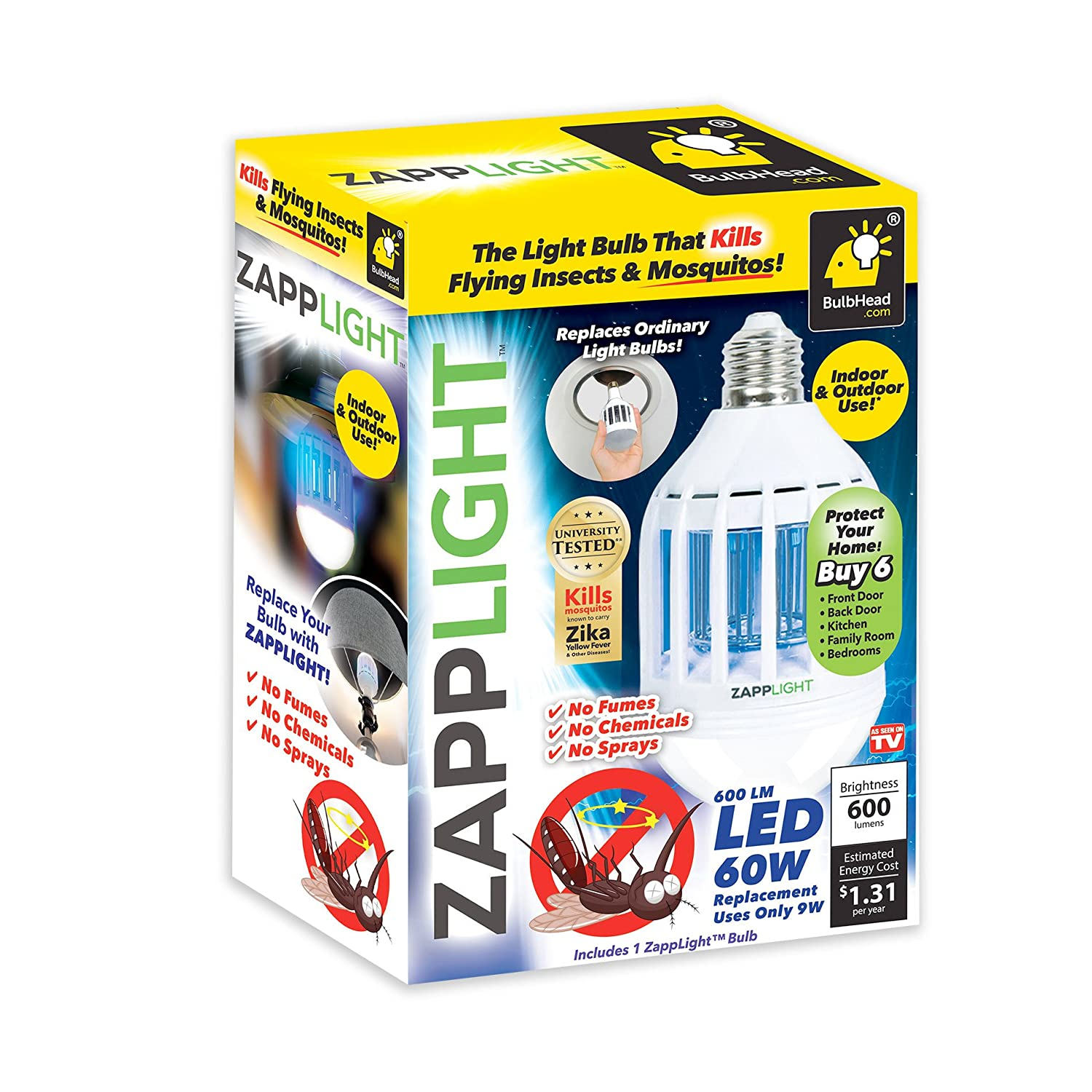 zapplight led 60w bug zapper bulb by bulbhead insect