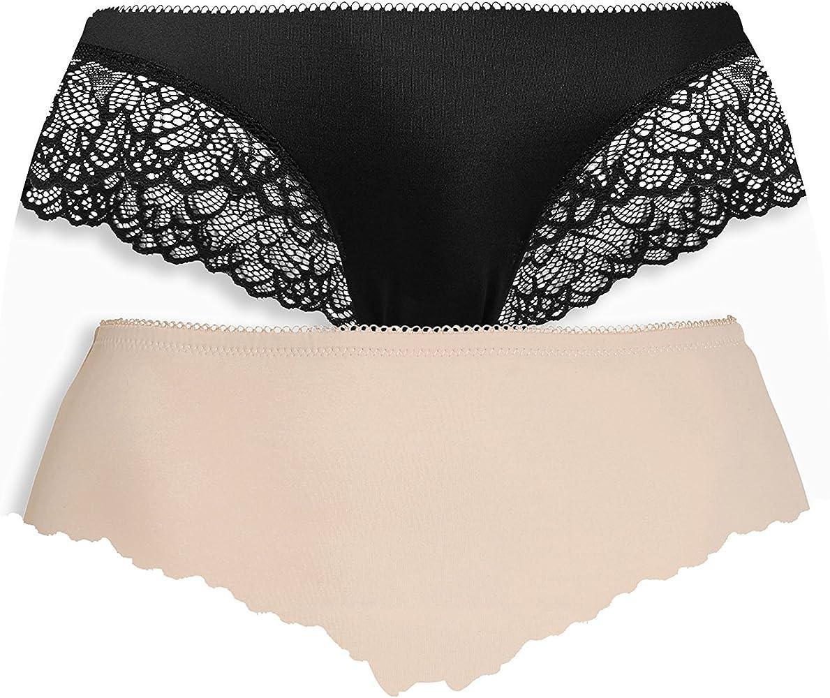 next Mujer Pack De Dos Braguitas Altas Encaje Negro/Nude Corte Regular Negro/Desnudo EU 46 (UK 18): Amazon.es: Ropa y accesorios