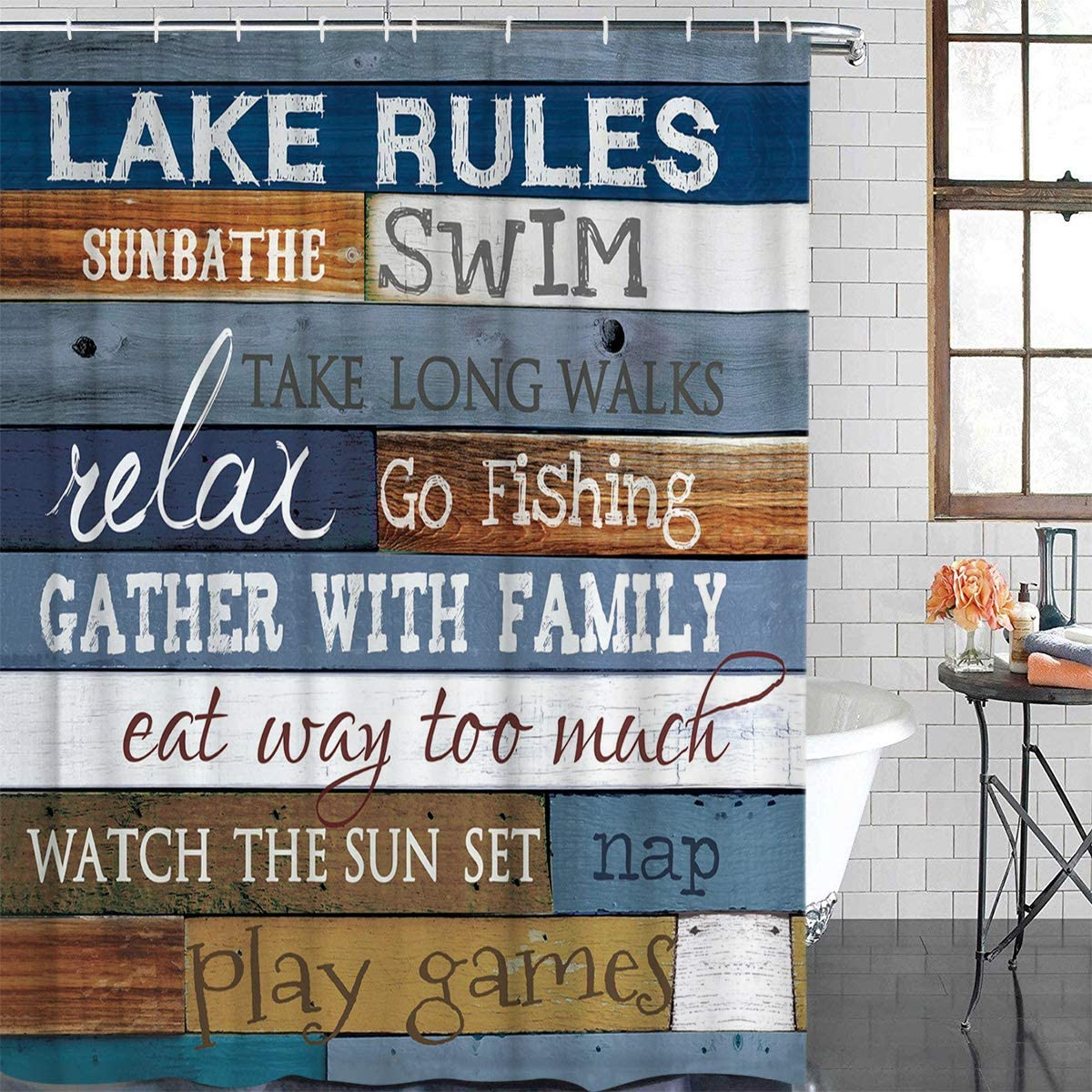 Shower Curtain Sets, Vintage Wooden Lake Rules Durable Waterproof Polyester Fabric Bath Curtain Set with Hooks for Home Bathroom Tub Decor Wood Plank Characters 60×72in