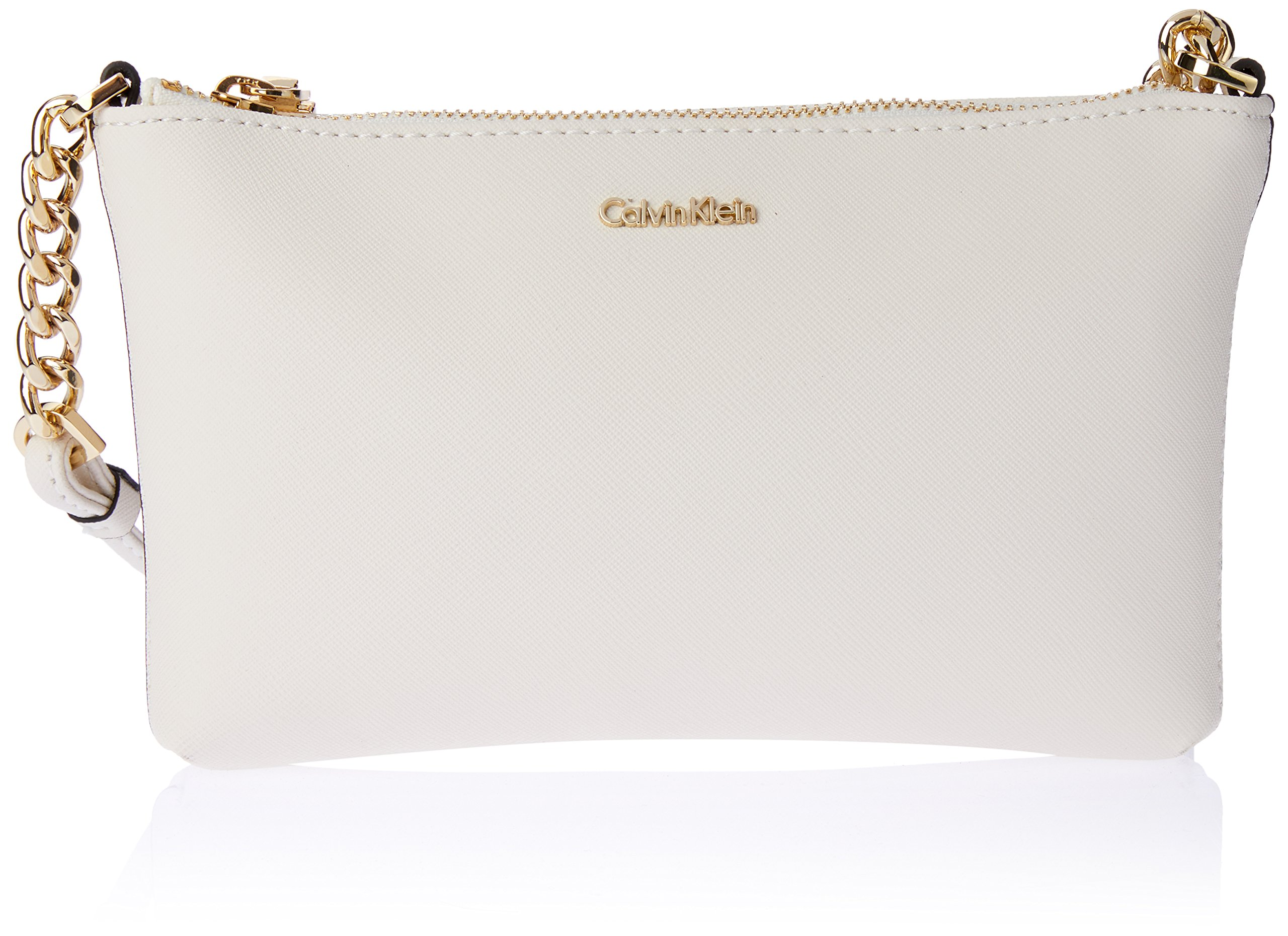 Calvin Klein Hayden Key Item Saffiano Top Zip Chain Crossbody, White