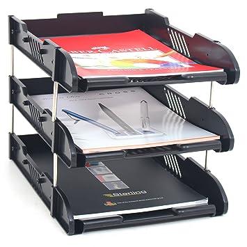 Bandejas apilables de 3 niveles para archivar documentos A4 con organizador de almacenamiento de cartas y