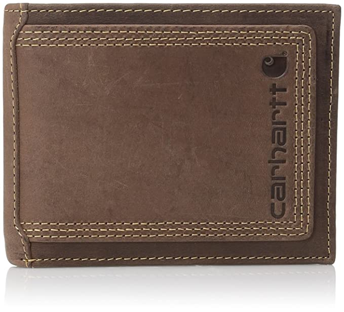 1aacde3b214a5 Carhartt Men s Top Grain Leather Passcase, Contrasting Stitch, Brown, One  Size