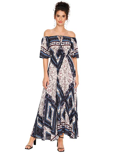 hot-selling newest 2019 best big selection Milumia Women's Boho Off The Shoulder Swing Maxi Dress