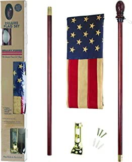 product image for Valley Forge, American Flag Kit, Cotton, 2.5' x 4', 100% Made in USA, Heritage Series, Antiqued Sleeved US American Flag with 5' Mahogany Wood Pole and Bracket