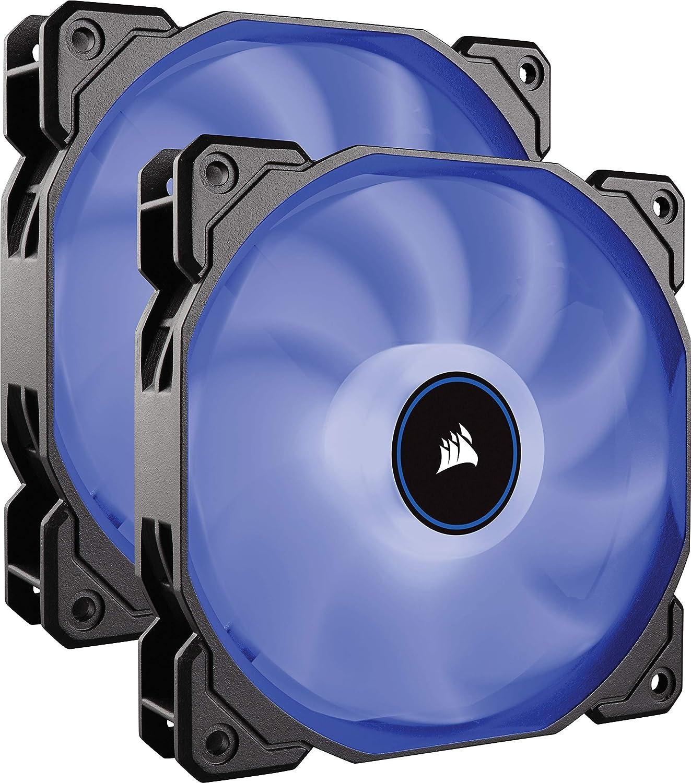 CORSAIR AF140 LED Low Noise Cooling Fan, Dual Pack - Blue, 140 mm (Renewed)