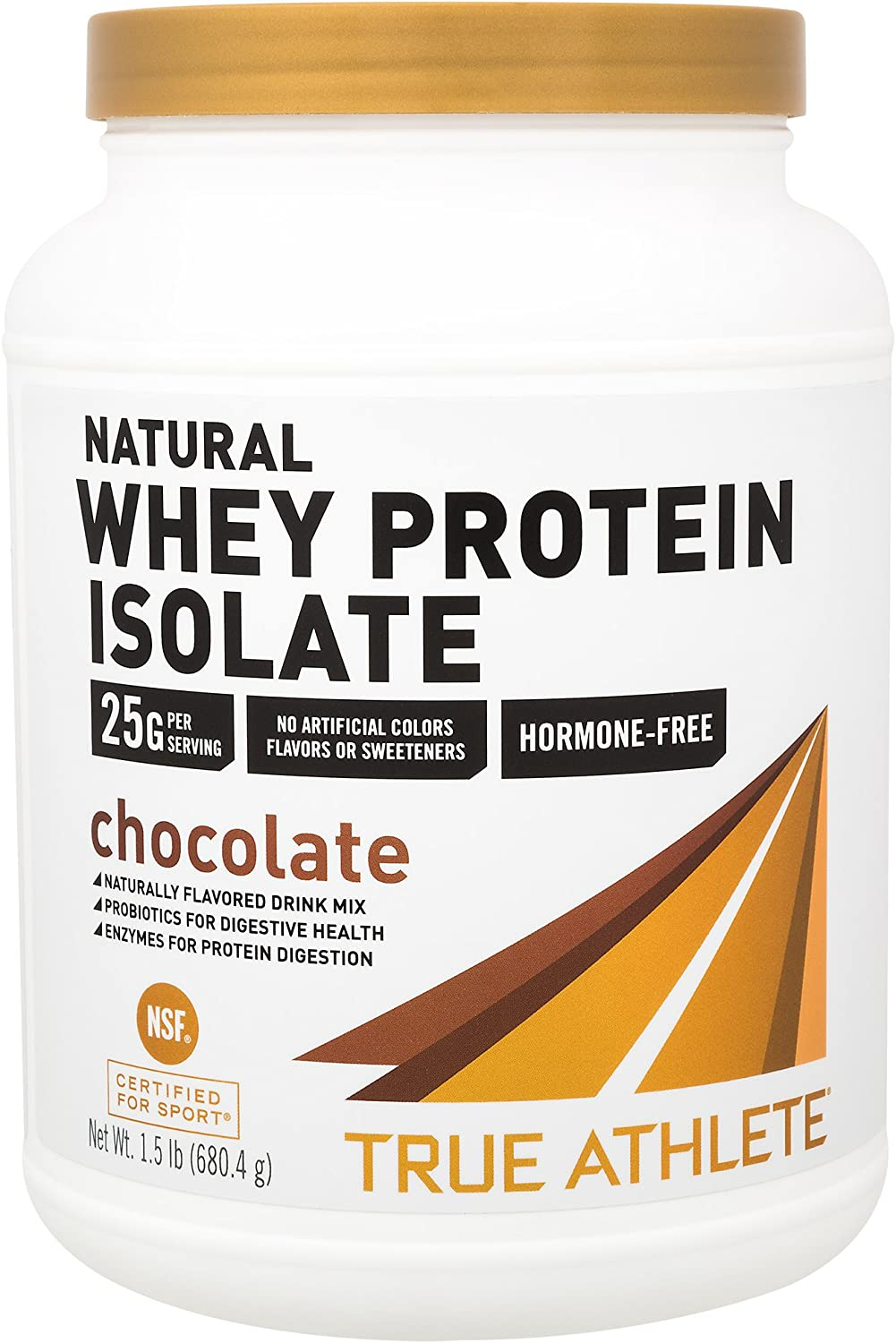 True Athlete Natural Whey Protein Isolate Chocolate, 25g of Protein per Serving Probiotics for Digestive Health, Enzymes for Protein Digestion NSF Certified for Sport (1.5 Pound Powder)
