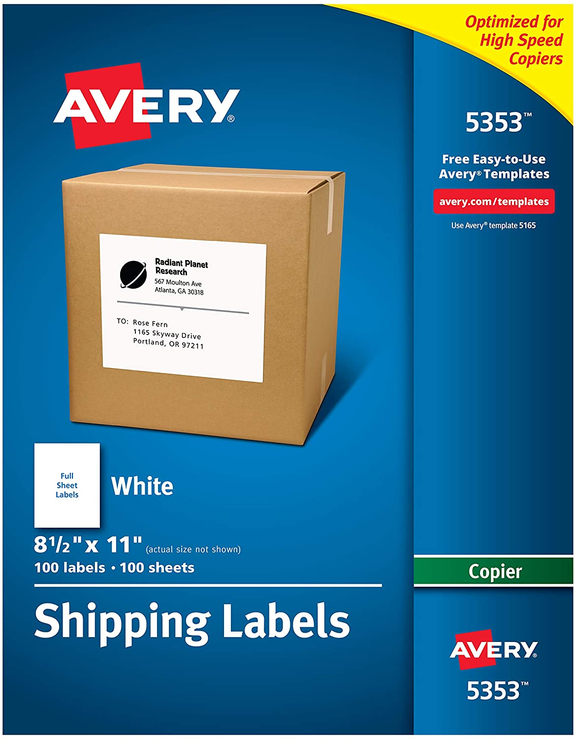 "B00006HQEJ Avery Shipping Labels for Copiers, 8-1/2"" x 11"", 100 White Labels (5353) 81T3YvbkOtL"