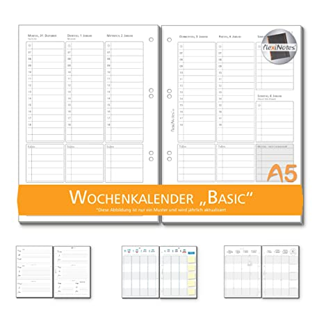 Calendario Numero Settimana 2019.Flexinotes Calendario Settimanale 2019 A5 Inserto