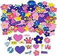 50 x Moosgummi Prinzessin Sticker Aufkleber Krone Zauberstab Diamant Stern Herz Rose Prinzessinnenparty