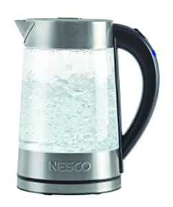 NESCO GWK-02, Electric Glass Water Kettle, Gray, 1.8 quart