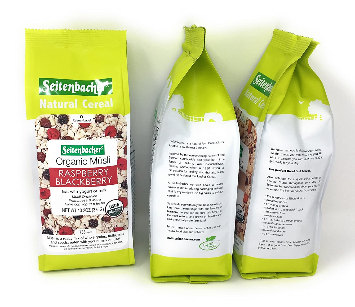 Amazon.com: Seitenbacher Organic Musli Bundle of Three Flavors: 16 Ounce Choco Coco, 13.2 Ounce Raspberry Blackberry, and 16 Ounce Cashews Almonds: