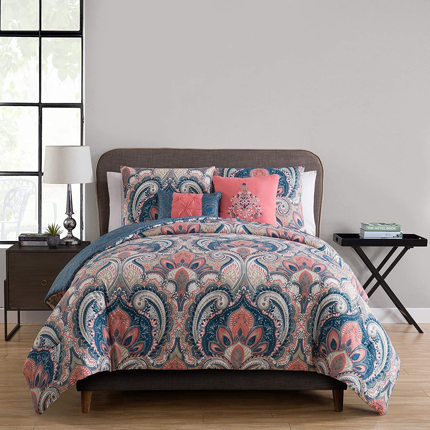 VCNY Home Casa Real Collection Comforter Soft & Cozy Bedding Set, Stylish Chic Design for Home Décor, Machine Washable, King, Coral, 5 Piece