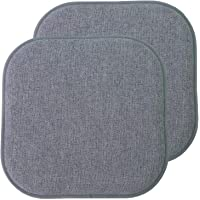 Sweet Home Collection Chair Cushion Memory Foam Pads Honeycomb Pattern Slip Non Skid Rubber Back Rounded Square 16″ x 16″ Seat Cover, 2 Pack, Alexis Blue/Gray