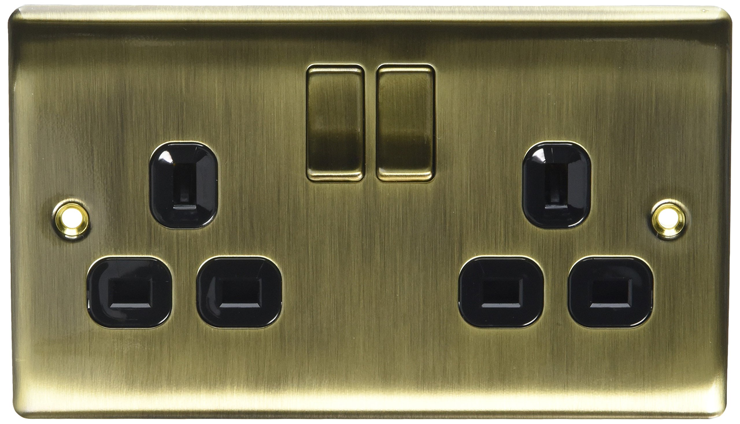BG Electrical nab22b Metal Antique Brass Double Plug Socket Switch - Antique Brass Black