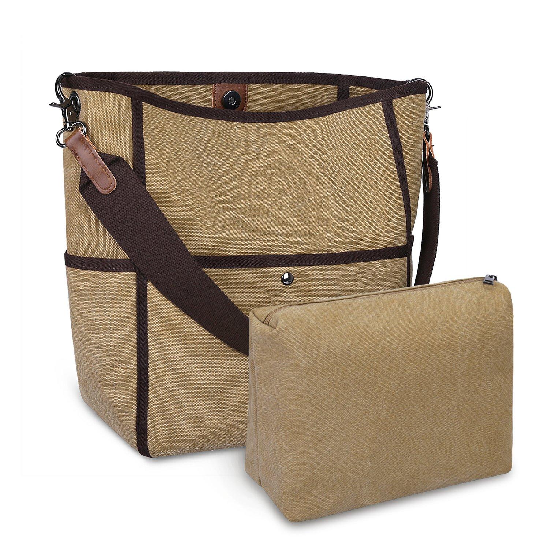 S-ZONE Women's Canvas Shoulder Bag Casual Handbag Tote Satchel Bucket Bag (Brown)