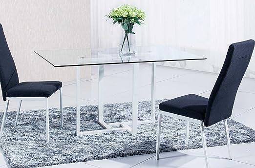Mesa de comedor cristal para salón con patas pintadas en blanco ...