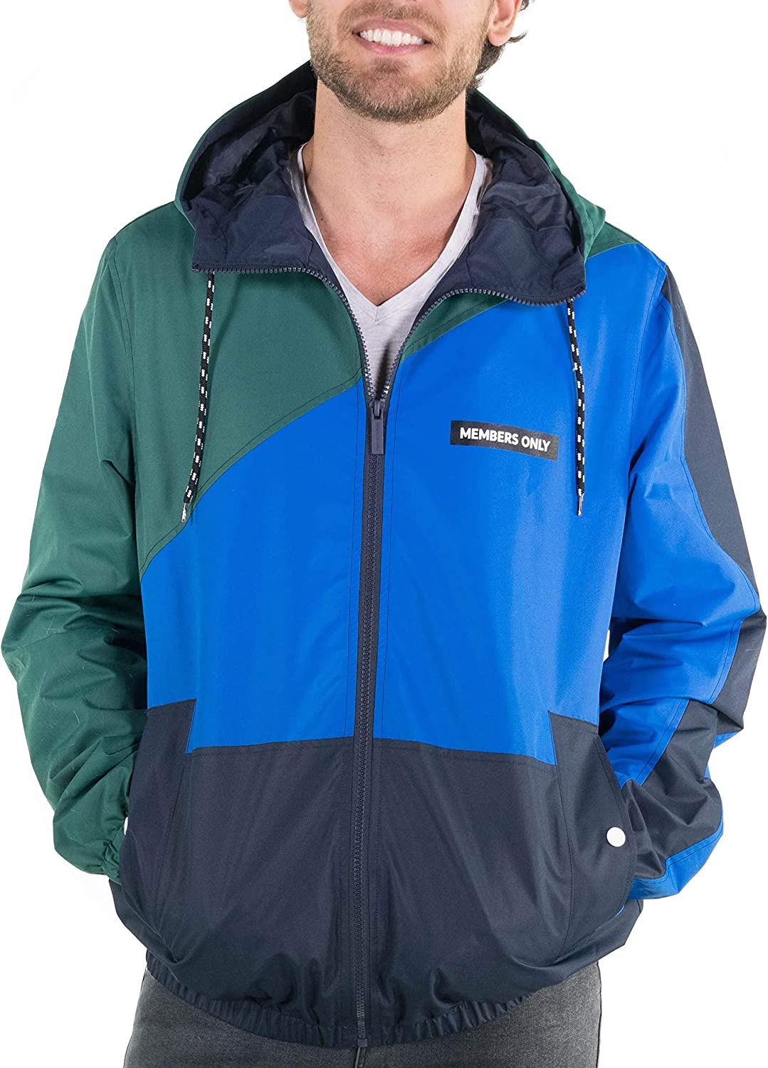 80s Windbreakers, Jackets, Coats Members Only Mens Asym Colorblock Windbreaker Hooded Jacket $59.00 AT vintagedancer.com