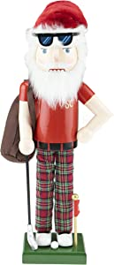 Clever Creations Golfing Santa 14 Inch Traditional Wooden Nutcracker, Festive Christmas Décor for Shelves and Tables