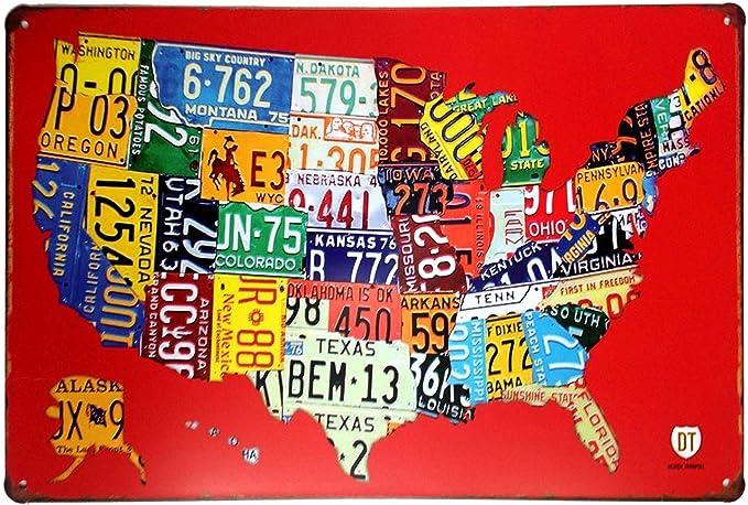 AiYahoo ruta 66 nosotros mapa hoja de metal signs Retro tin Signs 12 x 8 Inch: Amazon.es: Hogar