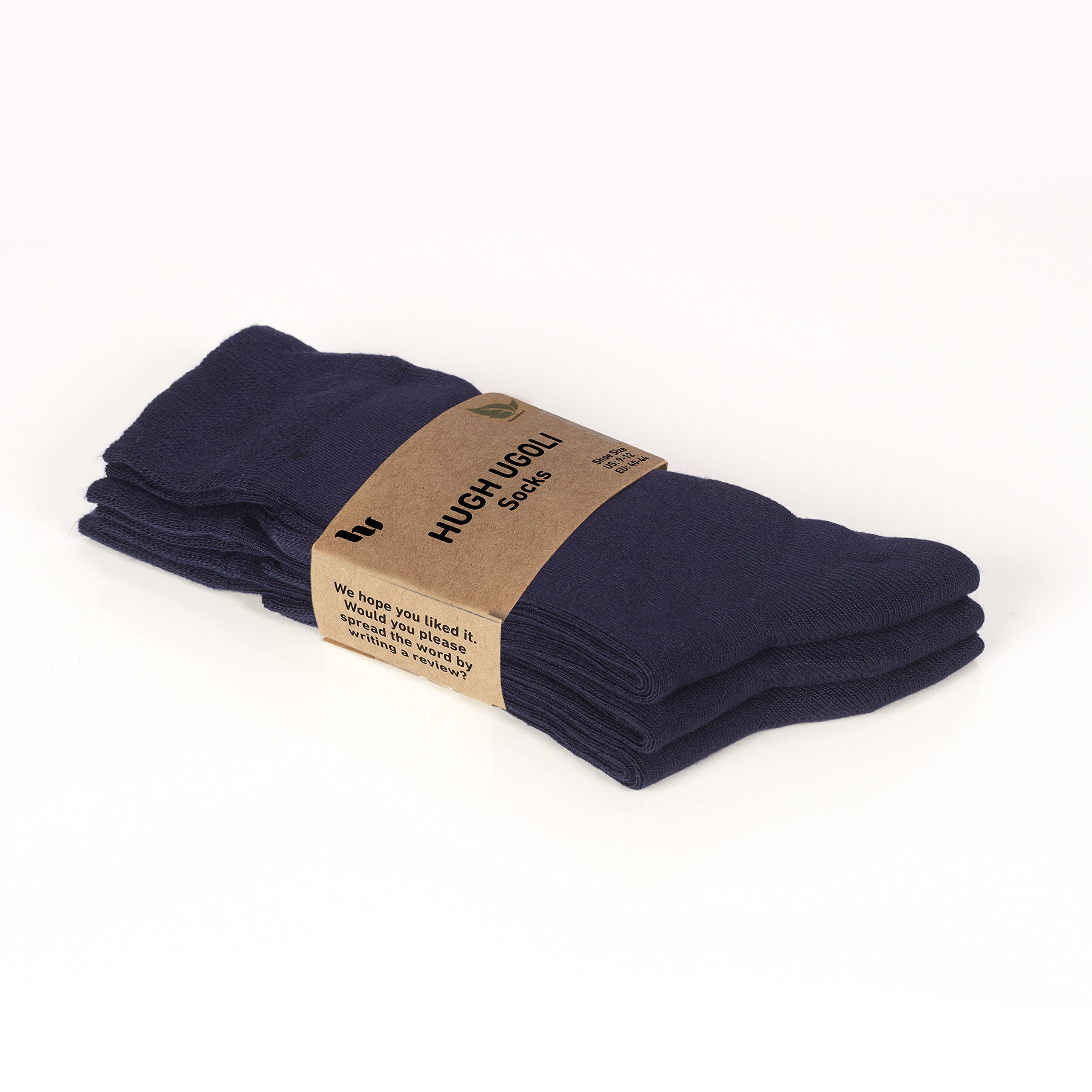 Hugh Ugoli Women's Dress Crew Socks Bamboo Business Casual Comfort Seam (Shoe size: 6-9, Navy Blue) by Hu Socks (Image #4)