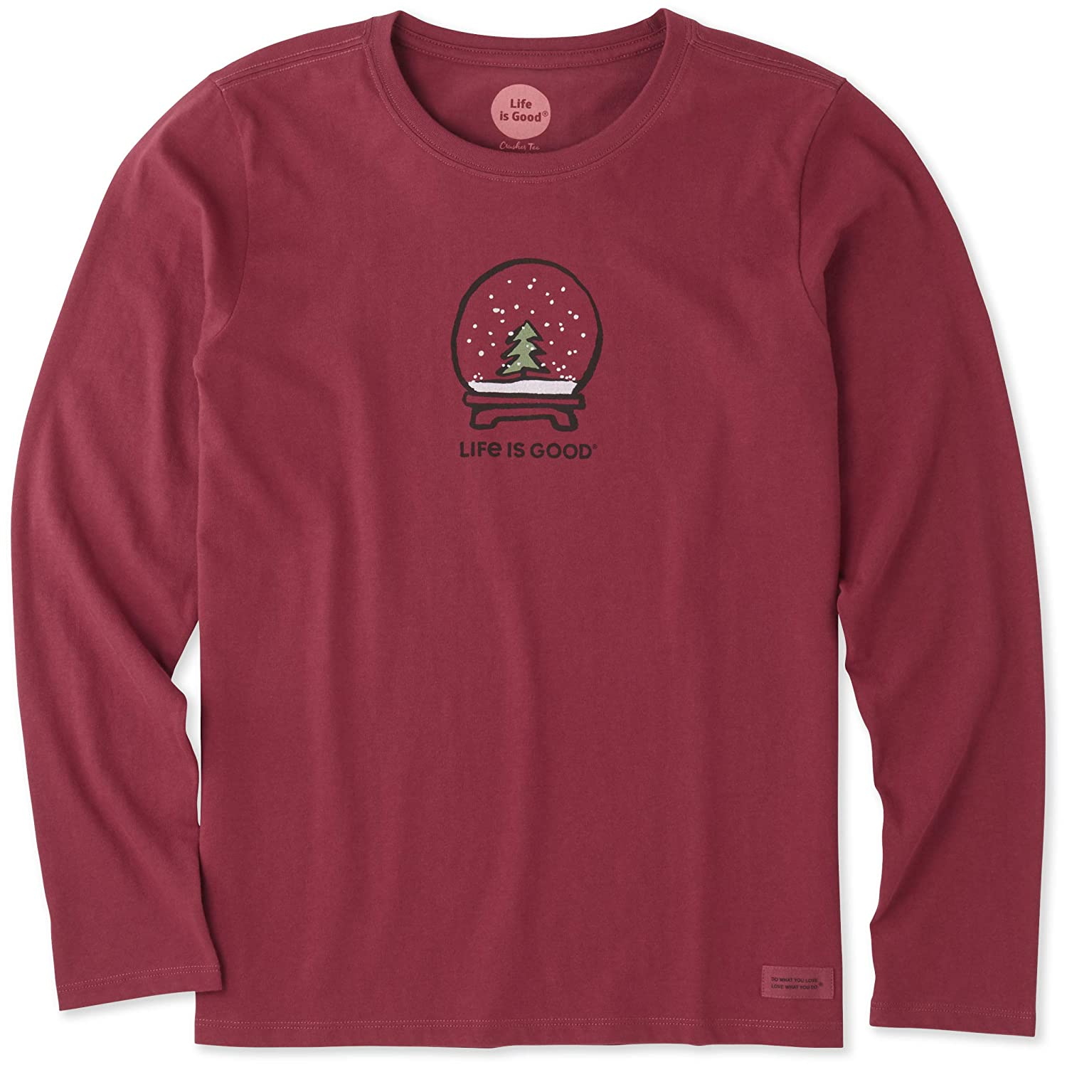 5ec70ce97ccb Amazon.com  Life is Good Women s Long Sleeve Evergreen Snowglobe Crusher Tee  Cranberry Red XXX-Large  Clothing