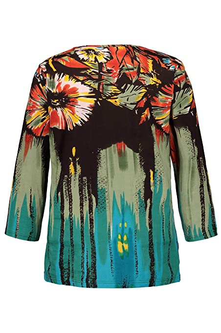 Col Imprimé Shirt Tailles Graphique T Femme Popken Rond Ulla Grandes TJ13KclF
