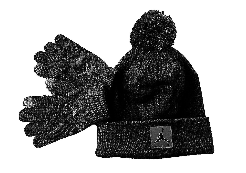8a196d8ae7 Amazon.com: Nike Jordan Boy`s Winter Cuffed Beanie & Gloves Set Black Size  8/20: Sports & Outdoors