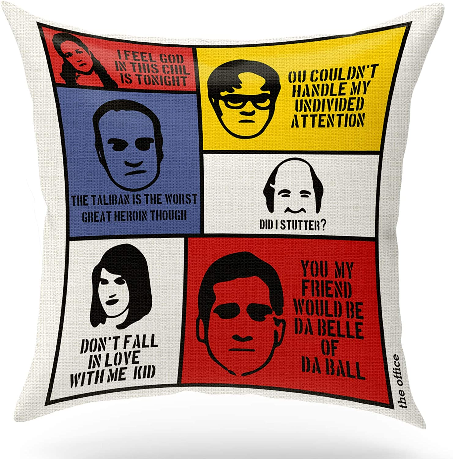 ForbiddenPaper Funny The Office TV Show Theme Pillow Covers | Cute Eco-Friendly Cotton Linen Pillow Gifts for The Office Fans Teens Women Friends Square 18x18 inch Decorative Pillow
