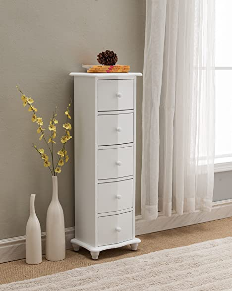 Amazon.com: Kings Brand Furniture White Finish Wood 5 Drawer ...