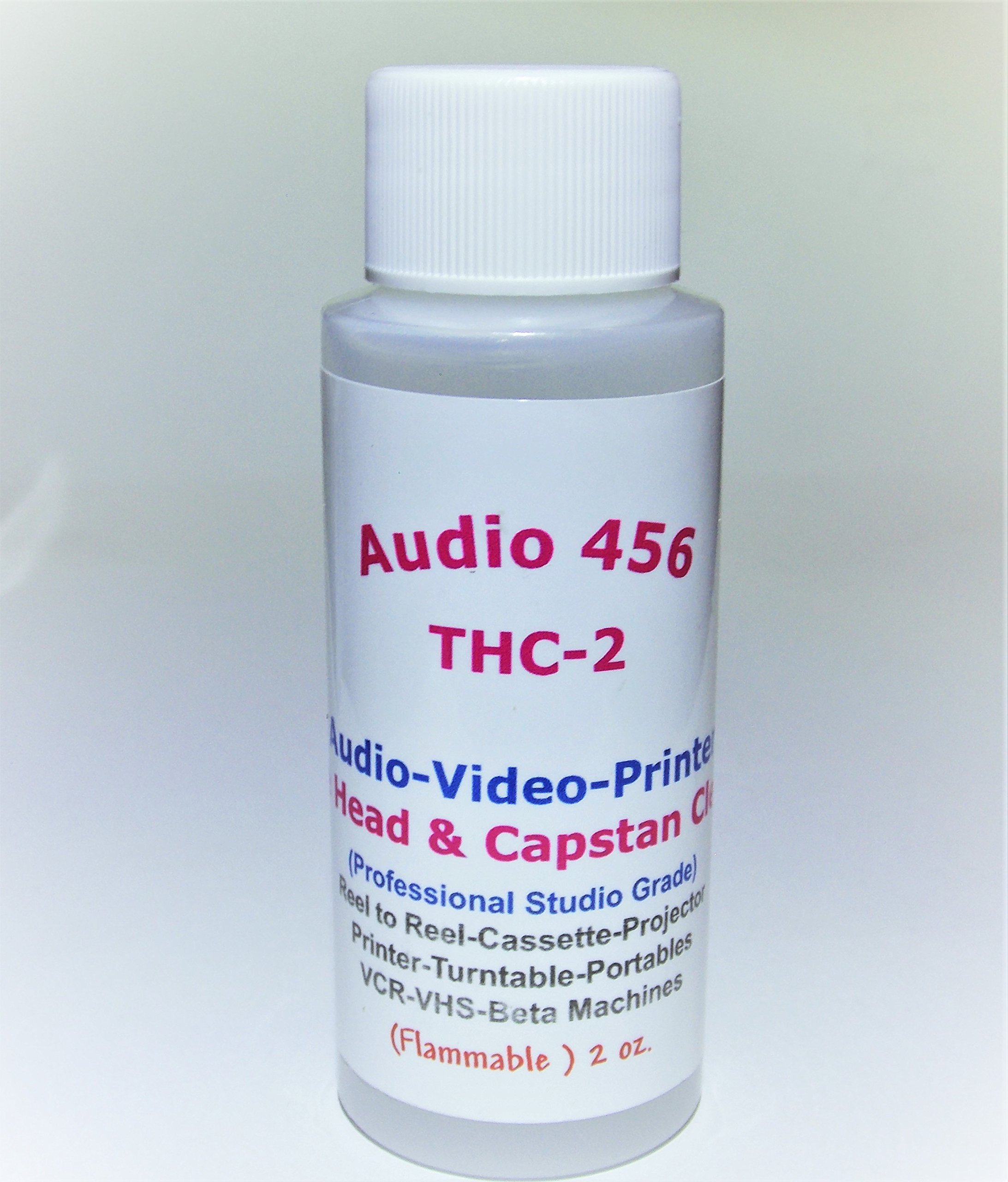 (1) Audio 456 (2 oz) THC-2 Professional Audio/Video Tape Head Capstan Cleaner for Reel to Reel + Cassette Decks +Tape Echo + Projectors + Portable & More.(formally SR-Audio)