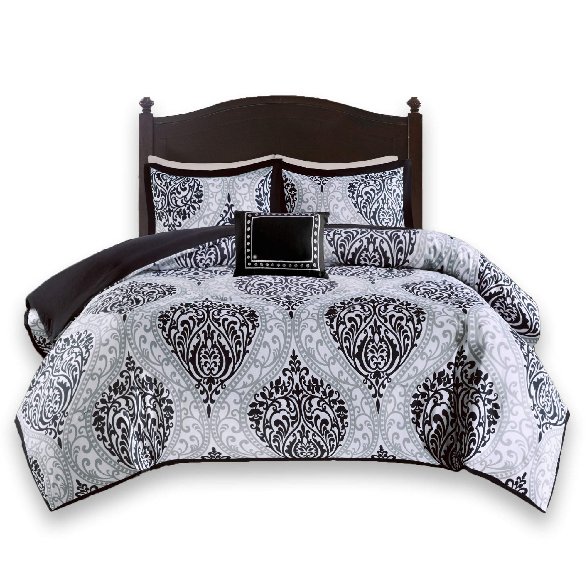 Comfort Spaces - Coco Comforter Set - 4 Piece - Black and White - Printed Damask Pattern - Full/Queen Size, Includes 1 Comforter, 2 Shams, 1 Decorative Pillow