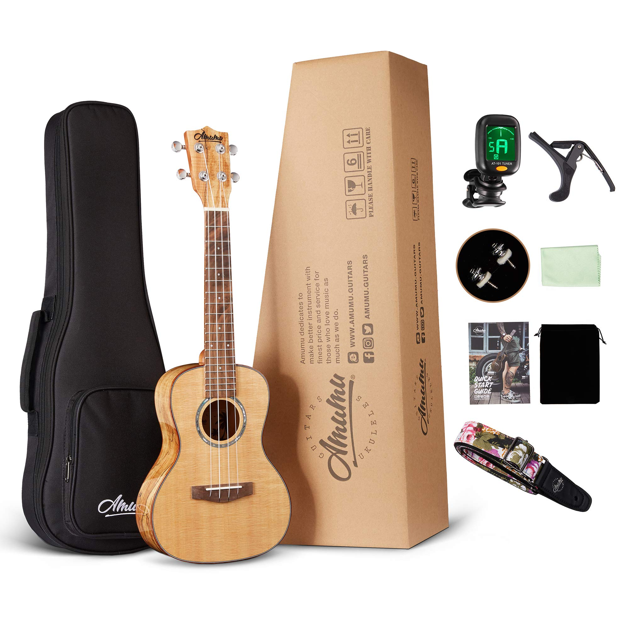 Amumu AM-SPFM-C Solid Spruce Top Spalted Maple Gloss Concert Ukulele w/Gig Bag and Clip On Tuner Ukulele Strap