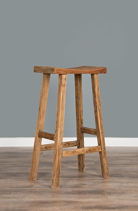 reclaimed teak bar stool amazon co uk kitchen home