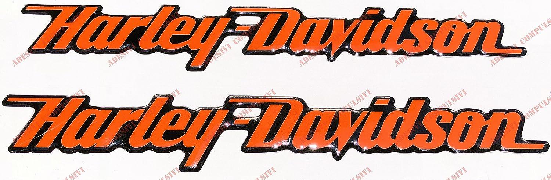 logo Harley Davidson couleur orange Adesivi Compulsivi Lot de 2 stickers en r/ésine effet 3D pour r/éservoir ou casque