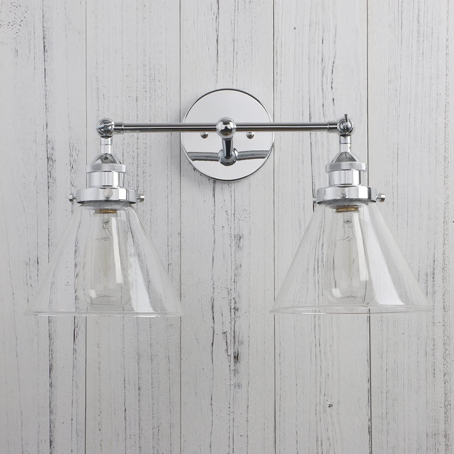 Permo Vintage Industrial Antique 2-Lights Wall Sconces with Dual Funnel Clear Glass Shade Black