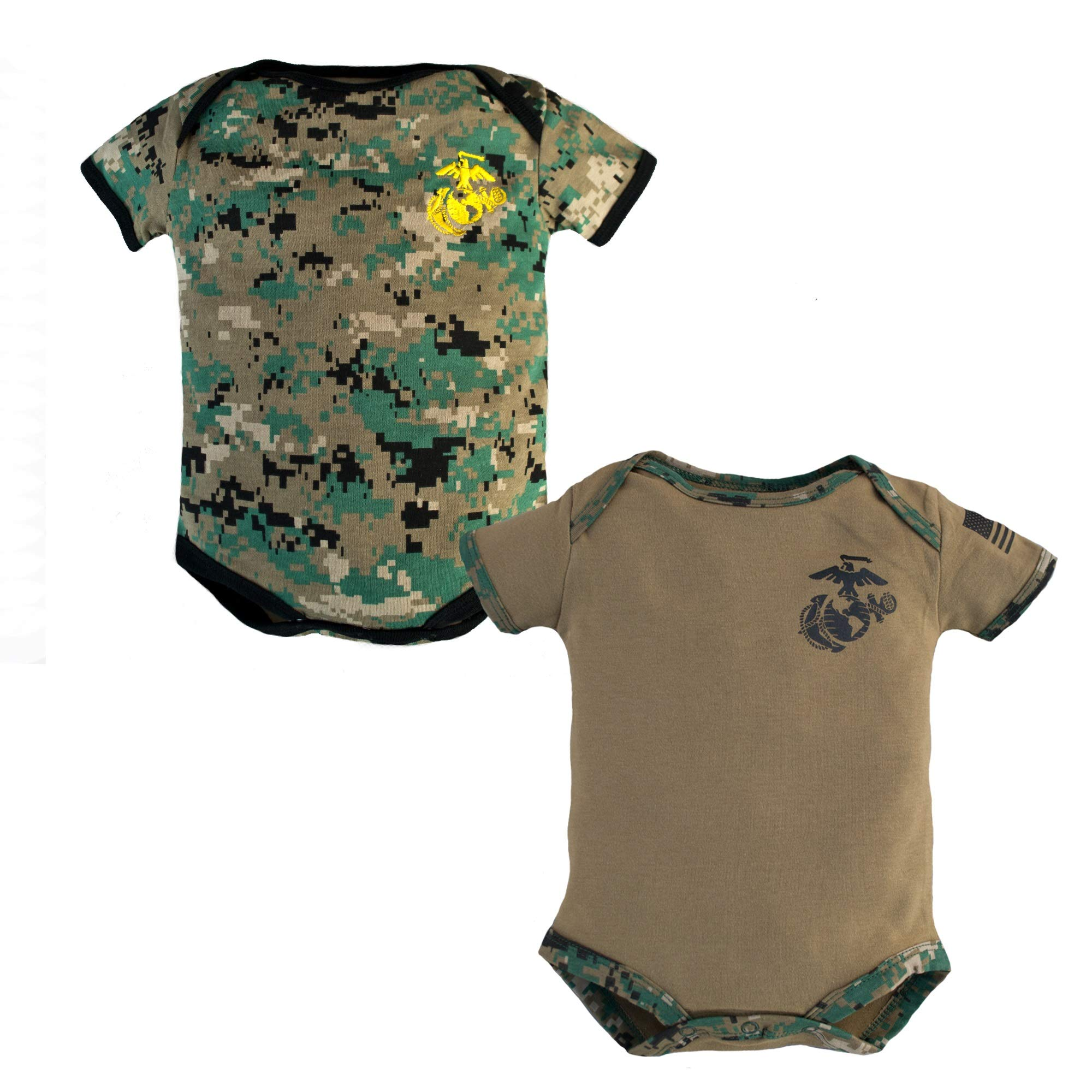 TC U.S.M.C Baby Boys Woodland Camo Crawler with Recruit Boots
