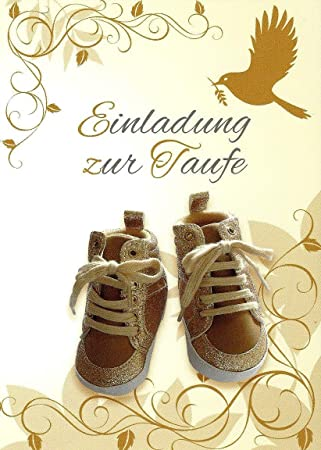 Einladungskarten Zur Taufe Mit Innentext Für Jungen Und Mädchen Motiv  Goldene Schuhe 18 Klappkarten DIN A6
