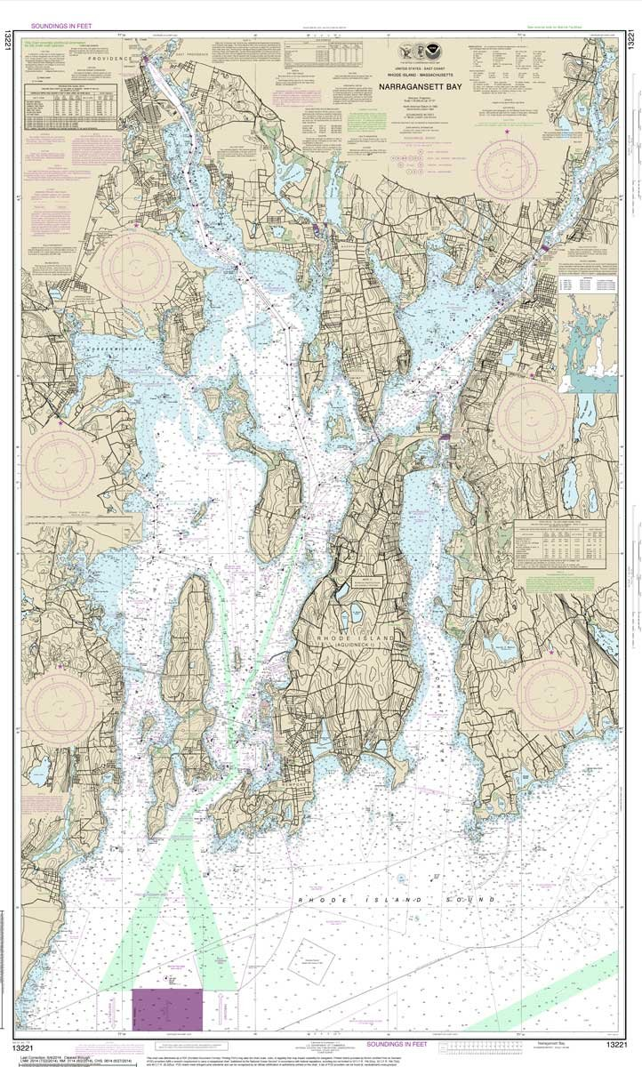 Paradise Cay Publications NOAA Chart 13221: Narragansett Bay, 32.8 X 53.8, TRADITIONAL PAPER