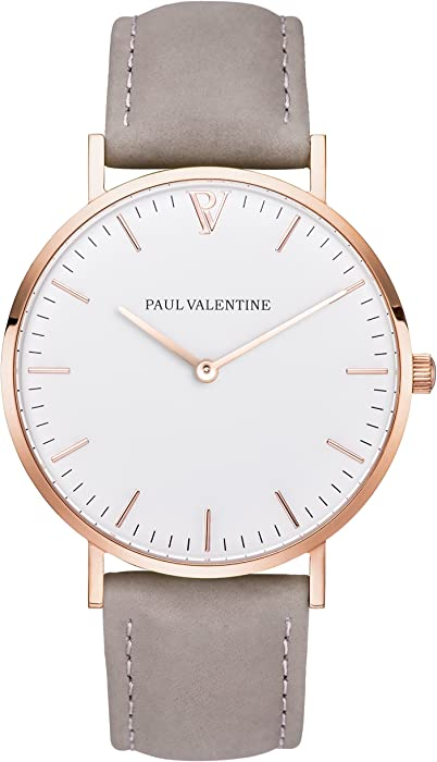 Paul Valentine | Marina Rose Gold gris | Mujer Reloj De Pulsera Con elegante diseño & atemporal y correa de piel gris