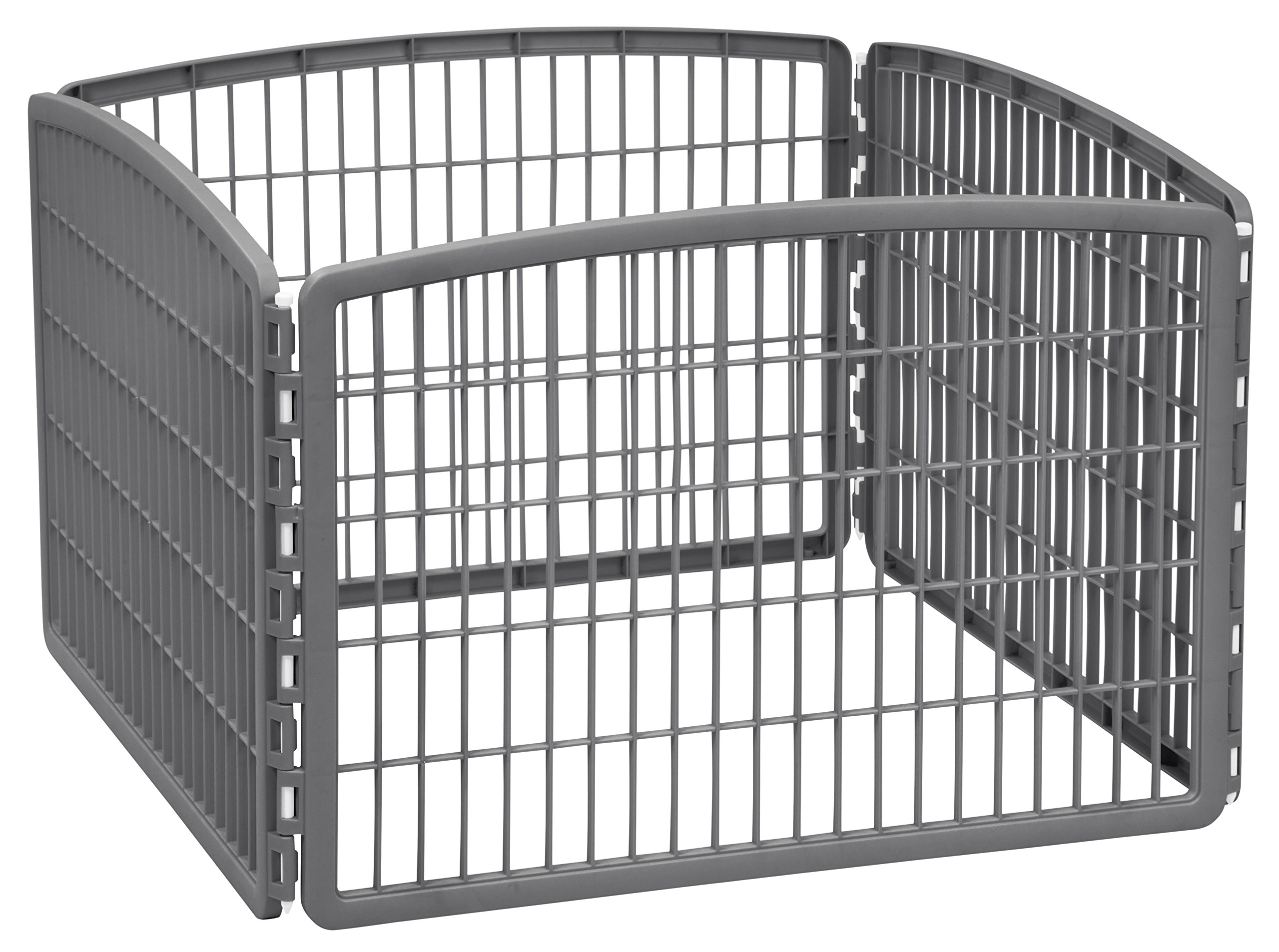 IRIS 24'' Exercise 4-Panel Pet Playpen without Door, Dark Gray