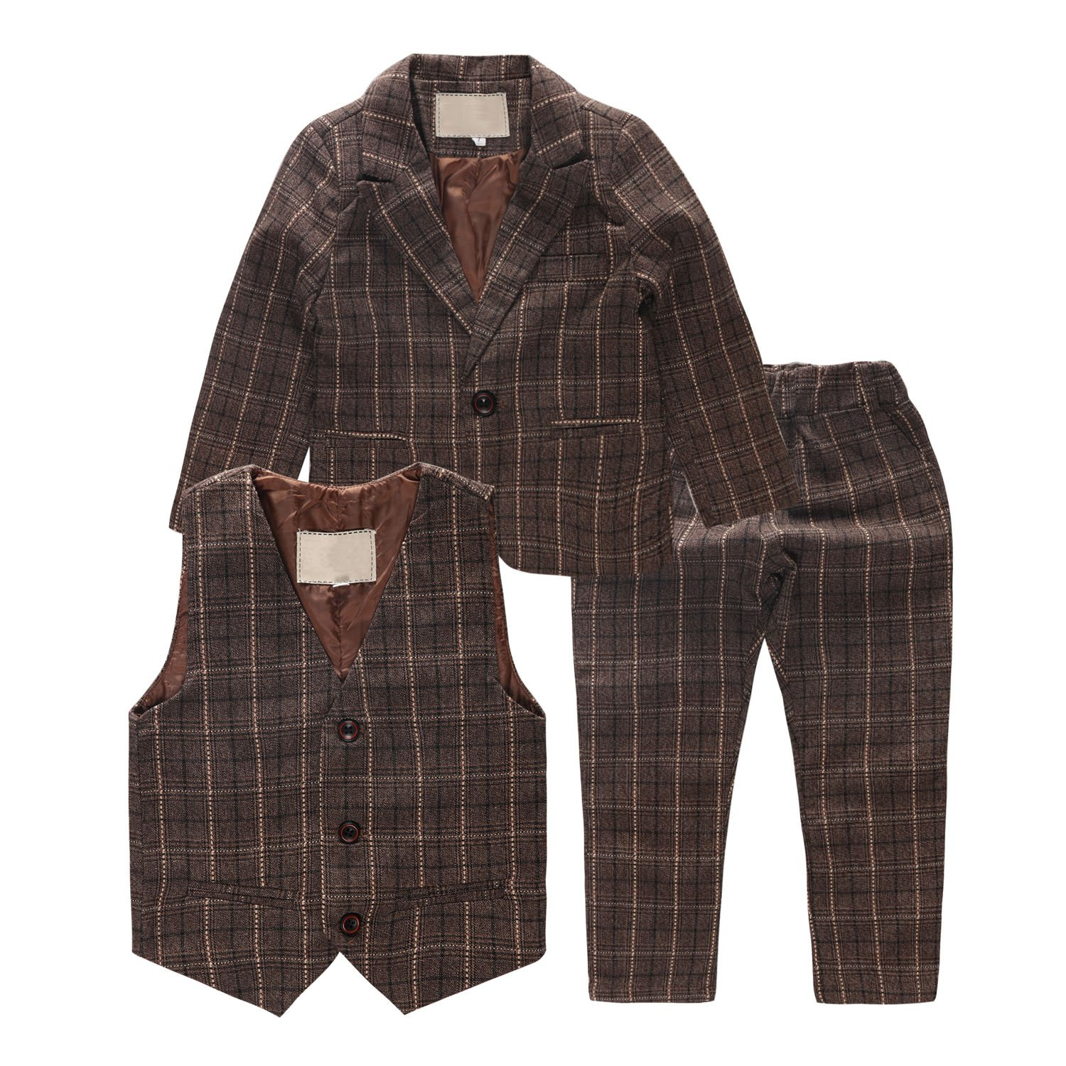 Coodebear Big Boys' Coat Pant Vest 3 Piece Cotton Lapel Lattice Suit Set
