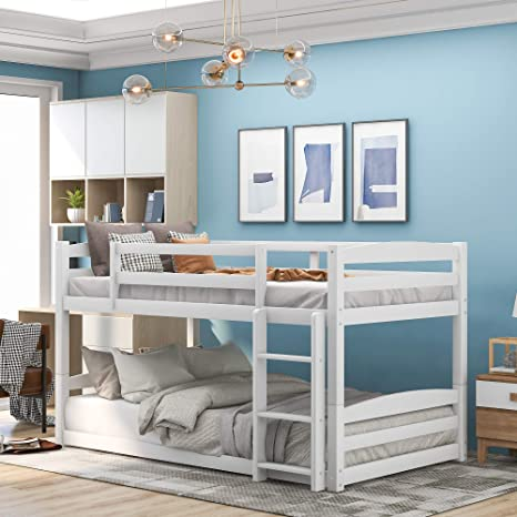 Amazon Com Twin Over Twin Bunk Bed Solid Wood Twin Double Bunk Bed For Kids Adults Can Be Divided Into 2 Separate Beds White Kitchen Dining