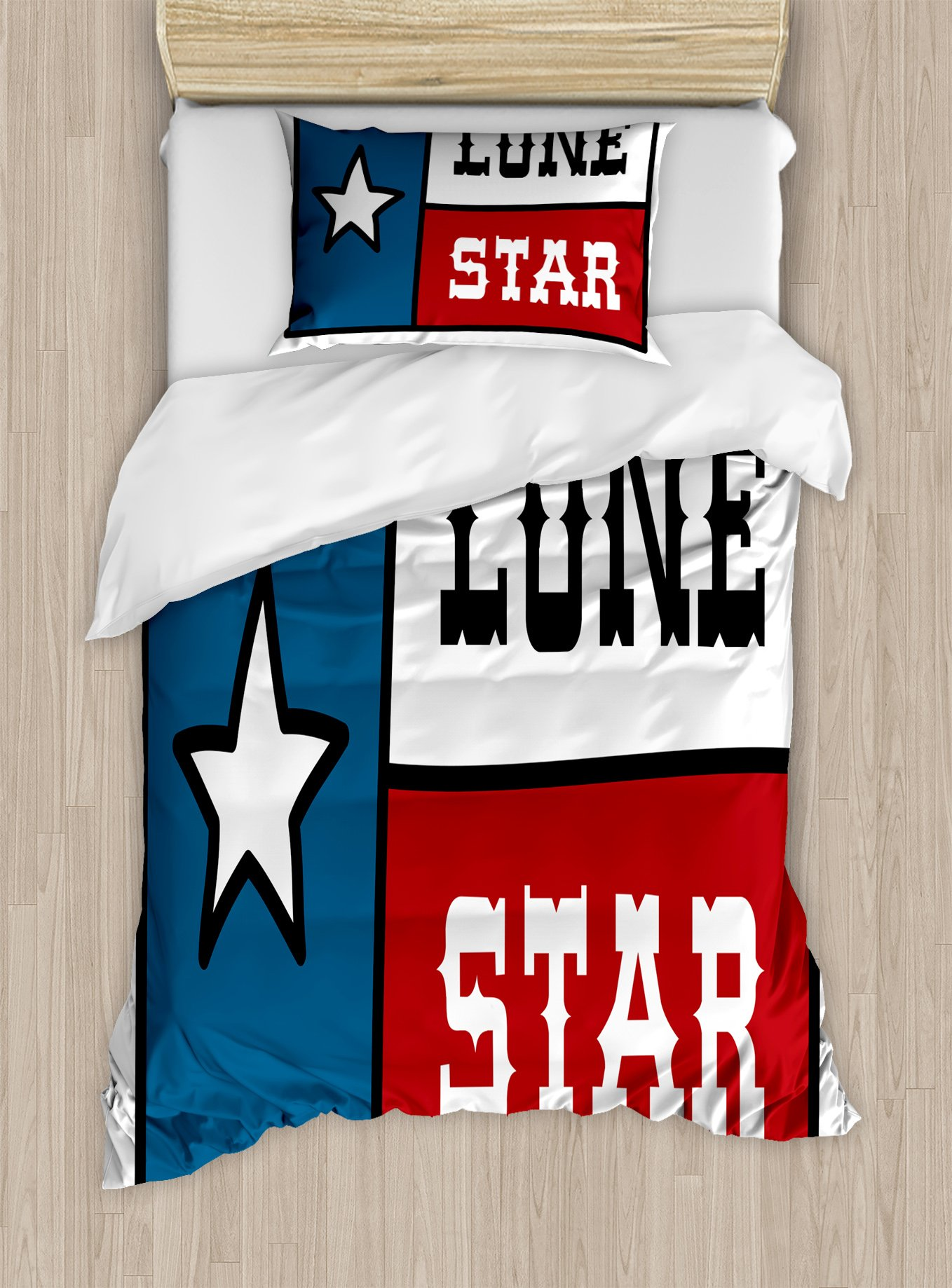 Ambesonne Texas Star Twin Size Duvet Cover Set, Lone Star Flag United States of America Themed Patriotic Design, Decorative 2 Piece Bedding Set with 1 Pillow Sham, Cobalt Blue Ruby White