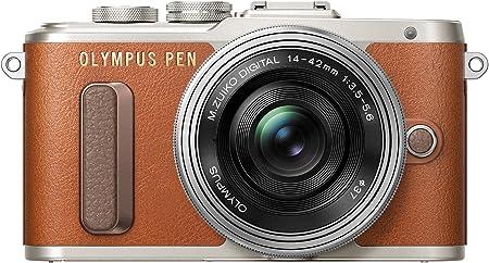 Olympus Pen E-PL8 Kit, Cámara de Sistema Micro Cuatro Tercios (16,4 MP, Estabilizador de Imagen de 5 Ejes, Visor Electrónico, FHD Vídeo) + Objetivo Mo 14-42mm EZ, marrón/Negro