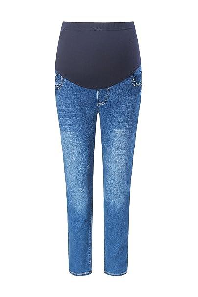 bd1b5a94ea459 Foucome Women Jeans Maternity Trousers Denim Slim Pregnant Pants Legging  Belly Cover Dark Blue